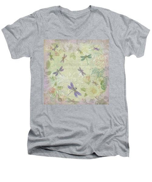 Vintage Botanical Illustrations And Dragonflies Men's V-Neck T-Shirt