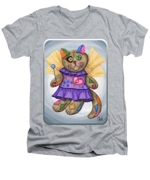 Voodoo Empress Fairy Cat Doll - Patchwork Cat Men's V-Neck T-Shirt