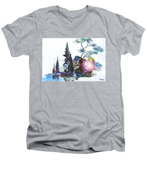 Watercolor Forest And Pond Men's V-Neck T-Shirt