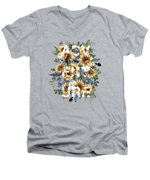 Watercolour Sunflowers Adventure Typography Men's V-Neck T-Shirt