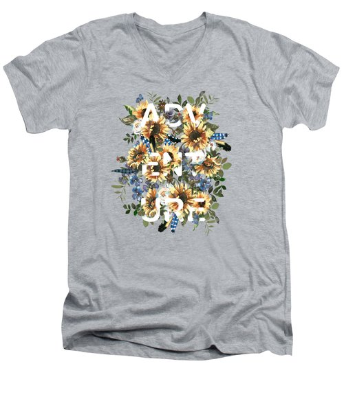 Watercolour Sunflowers Adventure Typography Men's V-Neck T-Shirt