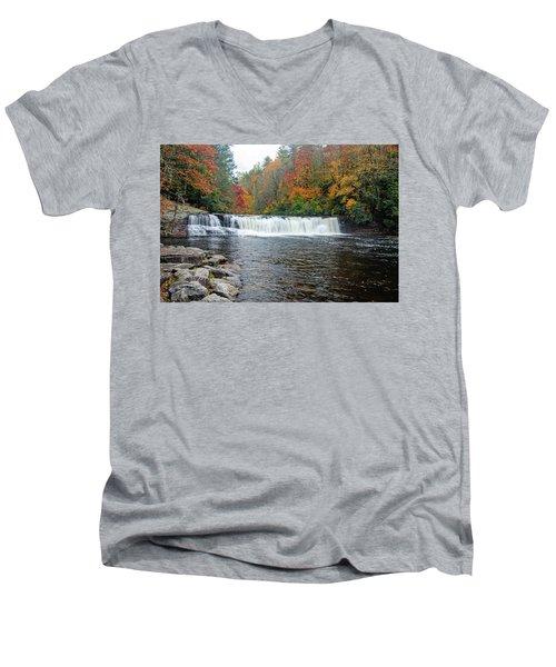 Waterfall In Autumn Men's V-Neck T-Shirt