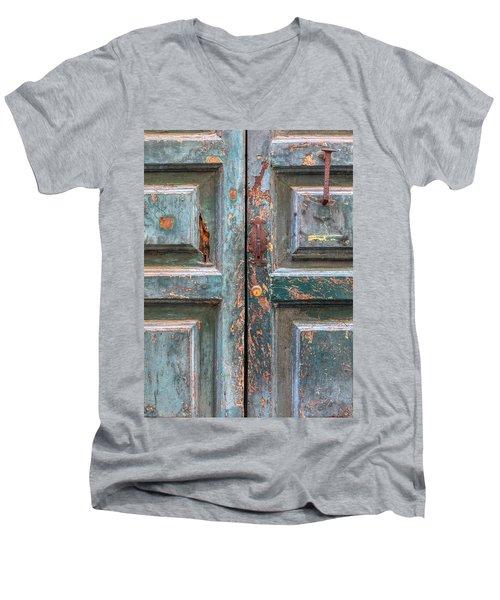 Weathered Rustic Green Door Of Cortona Men's V-Neck T-Shirt