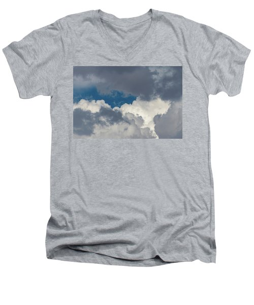 White And Gray Clouds Men's V-Neck T-Shirt