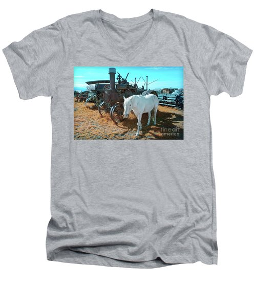 White Horse Iron Horse Men's V-Neck T-Shirt