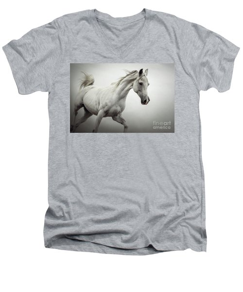 Men's V-Neck T-Shirt featuring the photograph White Horse On The White Background Equestrian Beauty by Dimitar Hristov