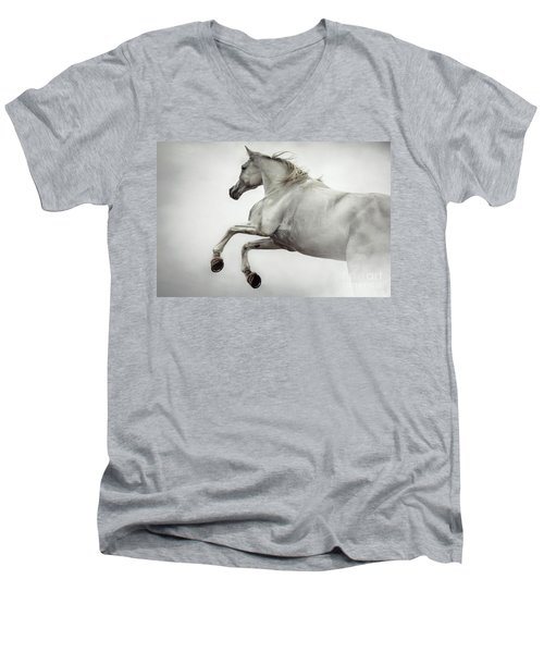 Men's V-Neck T-Shirt featuring the photograph White Horse Rearing Up by Dimitar Hristov