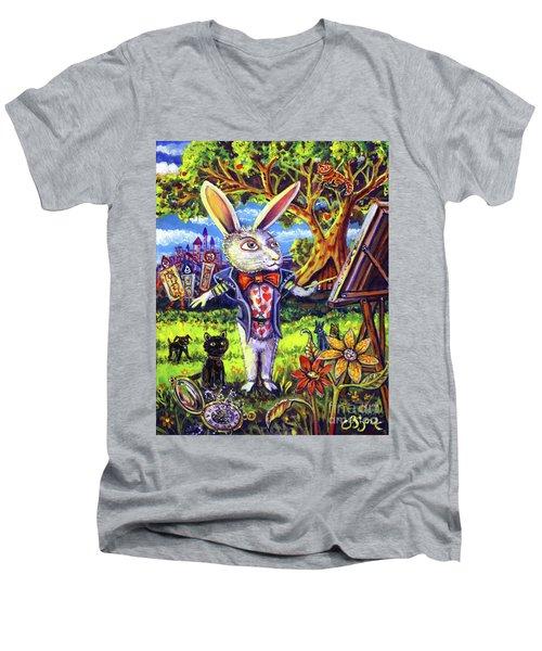 White Rabbit Alice In Wonderland Men's V-Neck T-Shirt