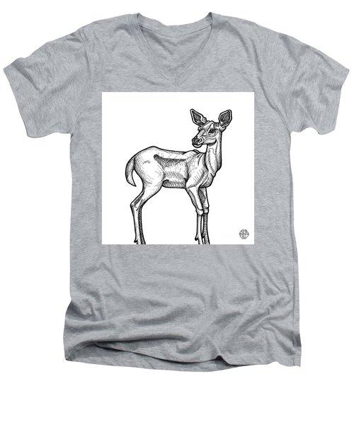 White Tailed Doe Men's V-Neck T-Shirt