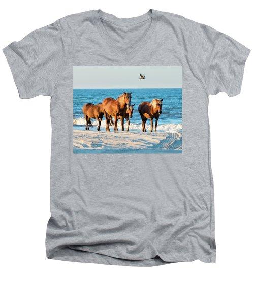 Wild Colonial Spanish Mustangs Of Carova Men's V-Neck T-Shirt