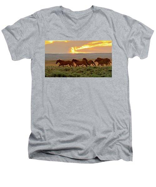 Wild Horses At Dusk Men's V-Neck T-Shirt