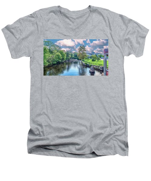 Willimantic River With Clouds Men's V-Neck T-Shirt