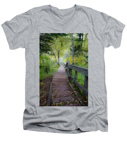 Winding Stairs In Autumn Men's V-Neck T-Shirt