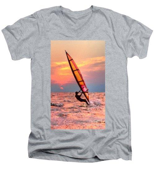 Windsurfing At Sunrise Men's V-Neck T-Shirt
