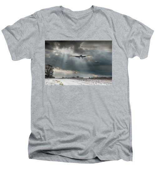 Men's V-Neck T-Shirt featuring the photograph Winter Homecoming by Gary Eason