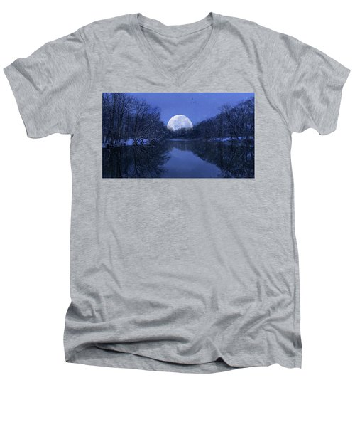 Winter Night On The Pond Men's V-Neck T-Shirt