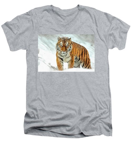 Men's V-Neck T-Shirt featuring the painting Winter Tiger by Harry Warrick