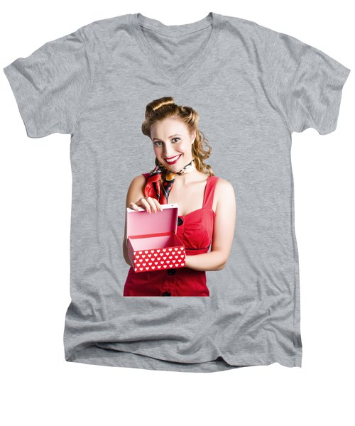 Woman Holding Gift Box Men's V-Neck T-Shirt