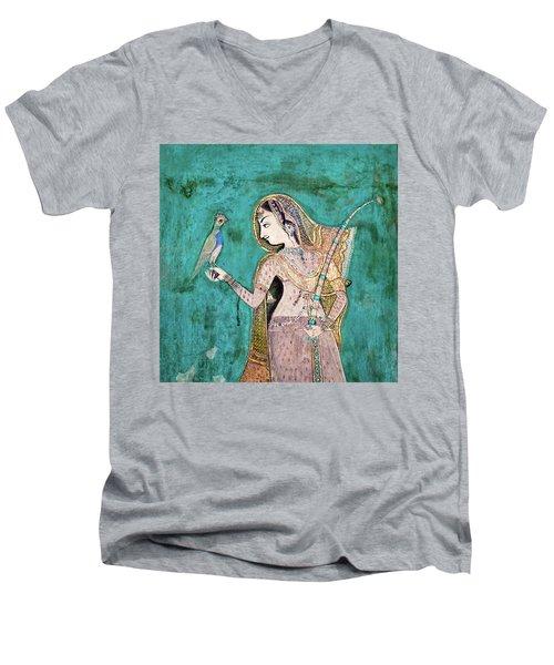 Woman With Parrot Men's V-Neck T-Shirt
