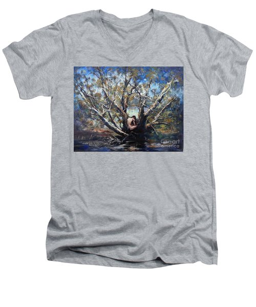 Men's V-Neck T-Shirt featuring the painting Wood Nymph by Ryn Shell