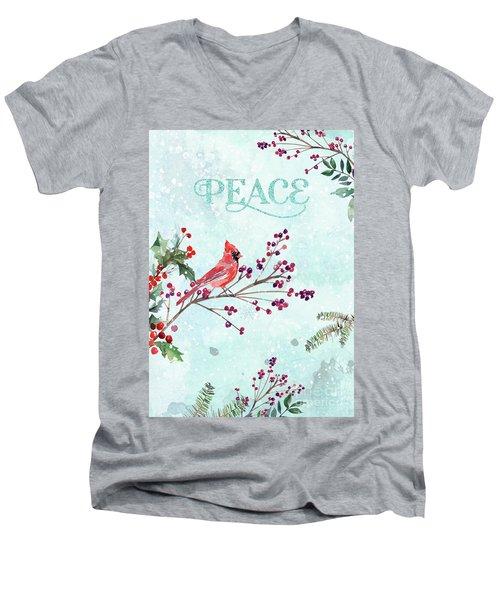 Woodland Holiday Peace Art Men's V-Neck T-Shirt