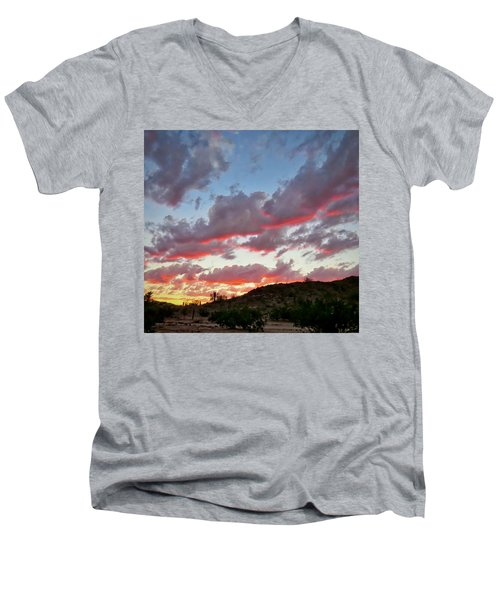 Men's V-Neck T-Shirt featuring the photograph Y Cactus Sunset  11 by Judy Kennedy