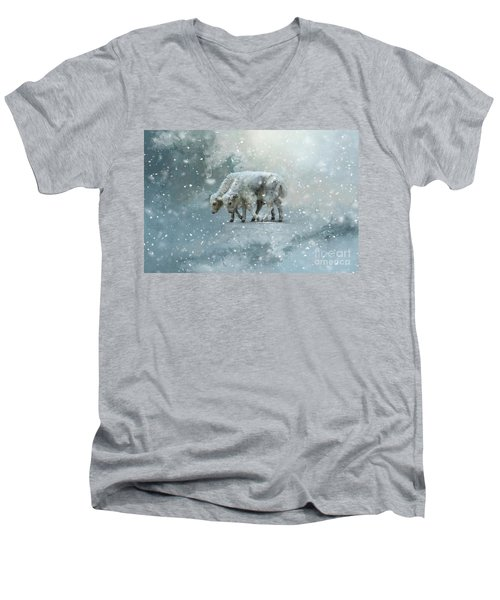 Yaks Calves In A Snowstorm Men's V-Neck T-Shirt