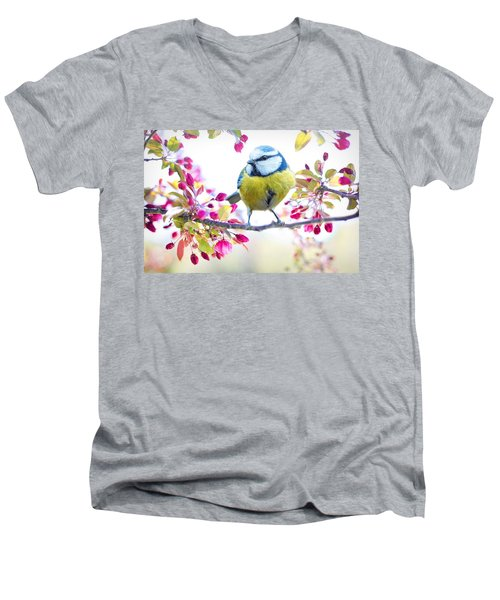 Yellow Blue Bird With Flowers Men's V-Neck T-Shirt