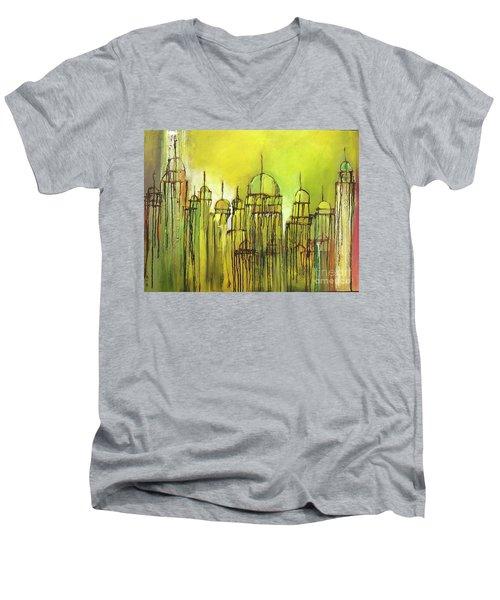 Yellow Mosque  Men's V-Neck T-Shirt