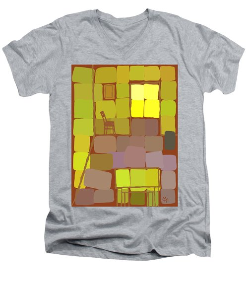 Men's V-Neck T-Shirt featuring the digital art Yellow Room by Attila Meszlenyi