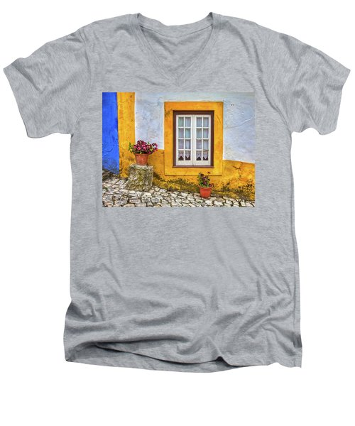 Yellow Window Of Obidos Men's V-Neck T-Shirt