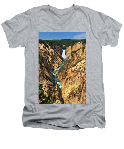 Yellowstone Grand Canyon From Artist Point Men's V-Neck T-Shirt