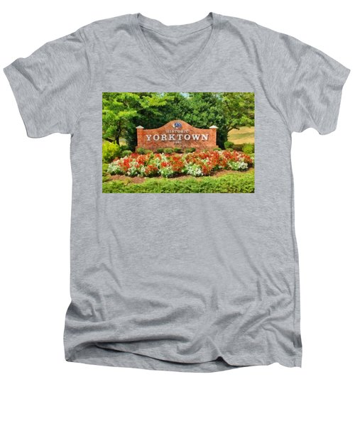 Men's V-Neck T-Shirt featuring the painting Yorktown Sign by Harry Warrick
