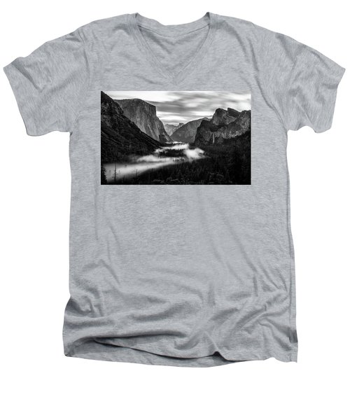Men's V-Neck T-Shirt featuring the photograph Yosemite Fog 1 by Stephen Holst