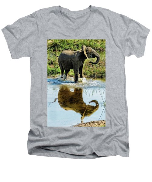 Young Elephant Playing In A Puddle Men's V-Neck T-Shirt