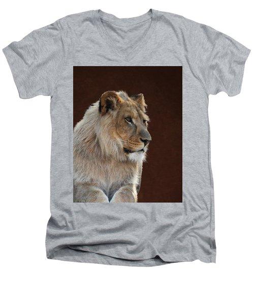 Men's V-Neck T-Shirt featuring the photograph Young Male Lion Portrait by Debi Dalio