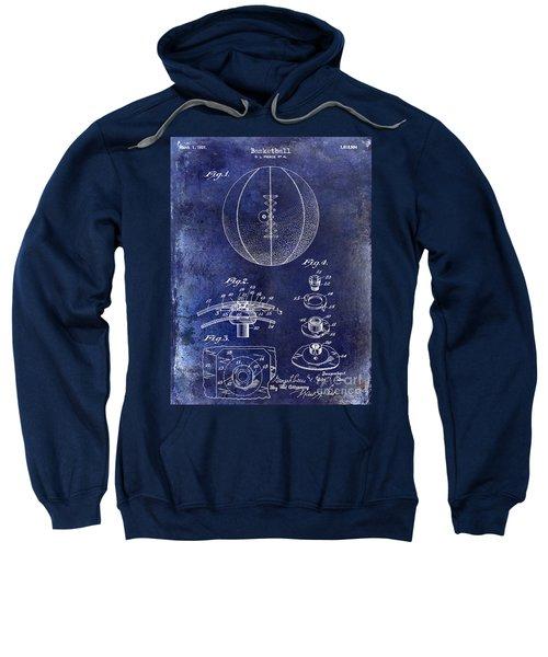 1927 Basketball Patent Drawing Blue Sweatshirt by Jon Neidert