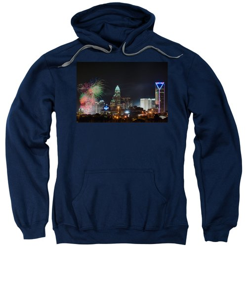 4th Of July Firework Over Charlotte Skyline Sweatshirt