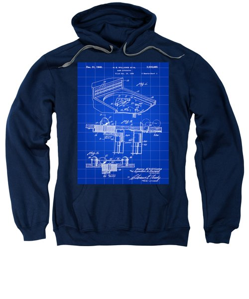 Pinball Machine Patent 1939 - Blue Sweatshirt by Stephen Younts