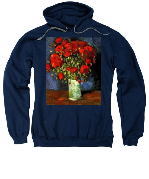 Vase With Red Poppies Sweatshirt