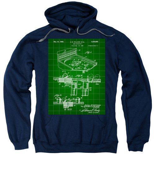 Pinball Machine Patent 1939 - Green Sweatshirt by Stephen Younts