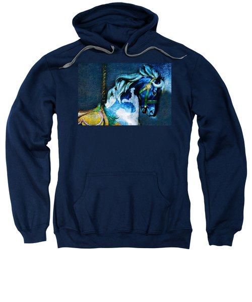 Blue Carousel Horse Sweatshirt
