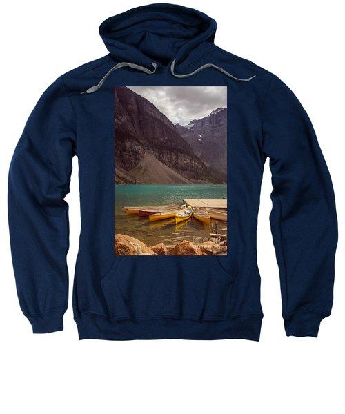 Canoe For Rent In Banff's Moraine Lake Sweatshirt