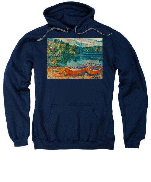 Canoes At Mountain Lake Sweatshirt