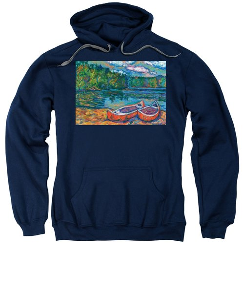 Canoes At Mountain Lake Sketch Sweatshirt