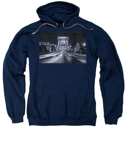 Chain Bridge Night Traffic Bwii Sweatshirt