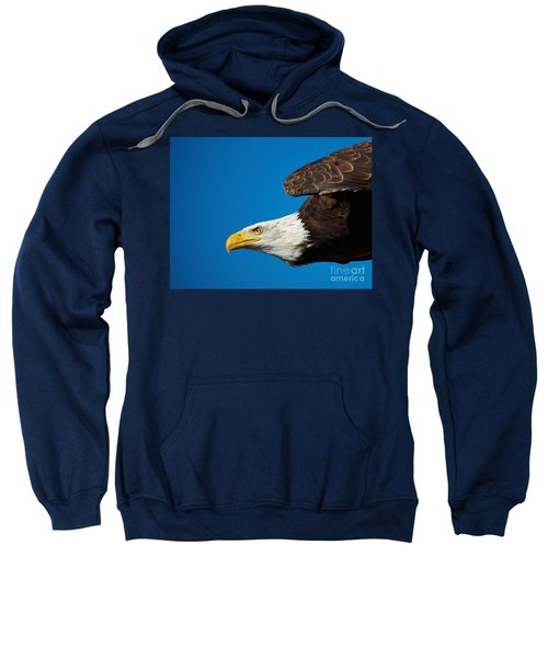 Close-up Of An American Bald Eagle In Flight Sweatshirt