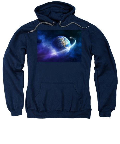 Comet Moving Passing Planet Earth Sweatshirt