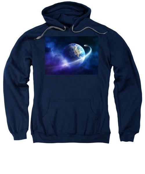 Comet Moving Passing Planet Earth Sweatshirt