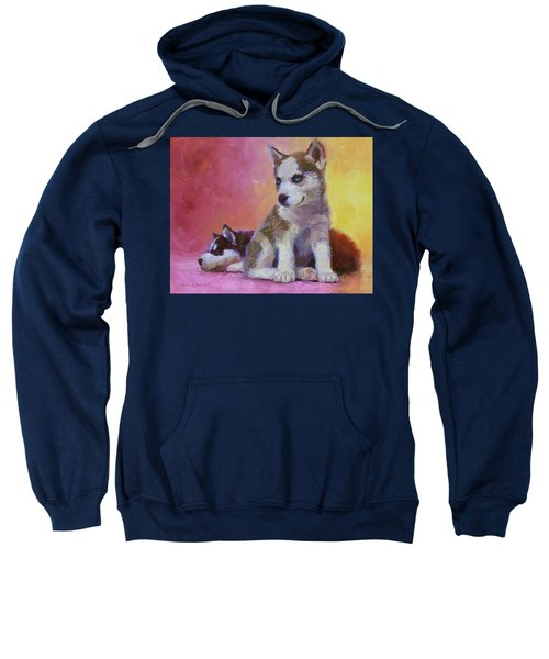 Double Trouble - Alaskan Husky Sled Dog Puppies Sweatshirt
